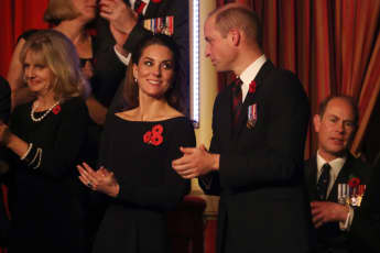Catherine, Duchess of Cambridge, Prince William, Duke of Cambridge and Prince Edward, Earl of Wessex attend the annual Royal British Legion Festival of Remembrance at the Royal Albert Hall on November 09, 2019 in London, England.