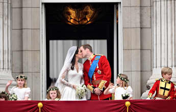 Duchess Catherine and Prince William's romantic wedding kiss
