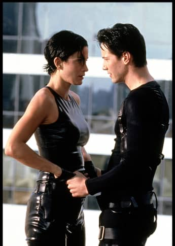 "Keanu Reeves and Carrie-Ann Moss in ""The Matrix"""