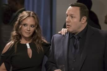 """Kevin James and Leah Remini in the Sitcom """"Kevin Can Wait""""."""