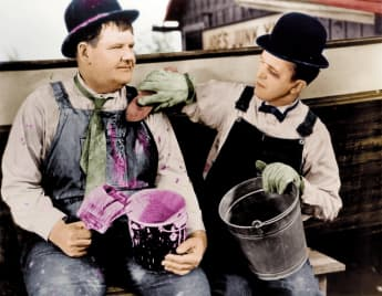 Oliver Hardy and Stan Laurel were known for their slapstick comedy from the 1920s to 1940s.