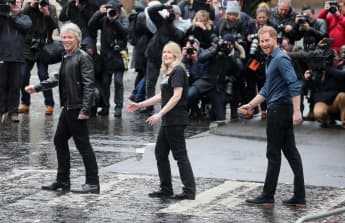 'Prince Harry and Jon Bon Jovi Recreate Iconic Beatles Abbey Road Crosswalk Picture - See It Here! (this one first please!)