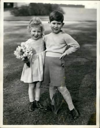 Prince Charles and Princess Anne and children.