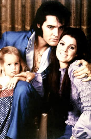Lisa Marie, Elvis and Priscilla Presley in 1970