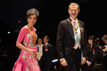 Queen Letizia and King Felipe of Spain at the Imperial Palace for the Court Banquets after the Ceremony of the Enthronement of Emperor Naruhito on October 22, 2019 in Tokyo, Japan.