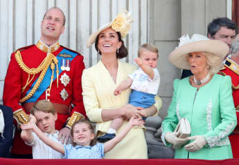 Prince Louis, Prince George, Prince William, Duke of Cambridge, Princess Charlotte, Catherine, Duchess of Cambridge and Camilla, Duchess of Cornwall during Trooping The Colour, the Queen's annual birthday parade, on June 08, 2019 in London, England