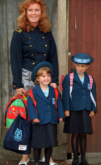 Princess Eugenie on her first day of school with her mother Sarah and her sister Princess Beatrice