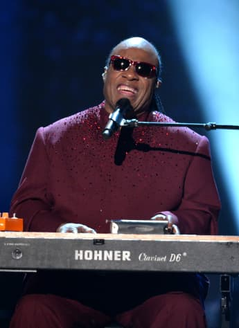 Stevie Wonder performing at the 2014 GRAMMY Awards