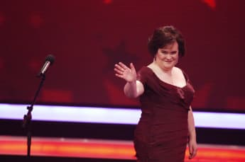 Susan Boyle performs during the 3rd semi final of the TV show 'Das Supertalent' on December 12, 2009 in Cologne, Germany
