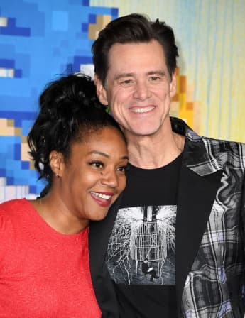 "Jim Carrey and Tiffany Haddish attend a special screening of ""Sonic the Hedgehog"" at the Regency Village Theatre in Westwood, California, on February 12, 2020"