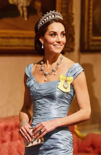 Duchess Catherine Diana's Tiara Dutch State Banquet Buckingham Palace