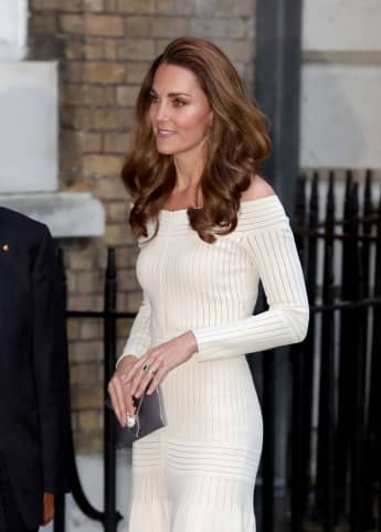 The Duchess of Cambridge arrives at Somerset house for a charity dinner in London on Wednesday June 12.