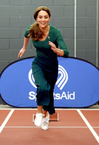 Duchess of Cambridge, tries out the running track with starting blocks during a SportsAid event at the London Stadium in east London on February 26, 2020