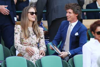 Eddie Redmayne and his wife Hannah Bagshawe attend the men's singles final at Wimbledon 2018