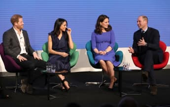 Prince Harry, Meghan Markle, Duchess Catherine and Prince William attend the first annual Royal Foundation Forum on February 28, 2018 in London, England.