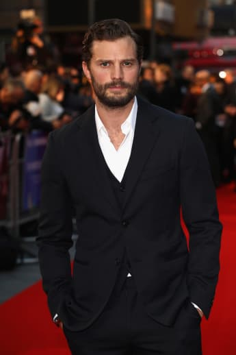 "Jamie Dornan attends the European Premiere of ""A Private War"" on October 20, 2018, in London, England."
