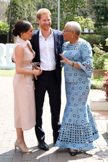 Prince Harry and Meghan meet Graca Machel, widow of the late Nelson Mandela on October 02, 2019 in Johannesburg, South Africa.