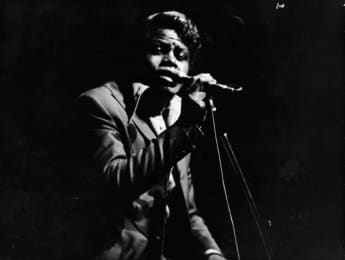 James Brown sings on stage at the Olympia theater, Paris, France, September 22, 1967.