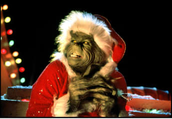 "Jim Carrey as the ""Grinch"" in the 2000 movie How The Grinch Stole Christmas"