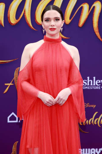 Katie Stevens attends the premiere of Aladdin in 2019
