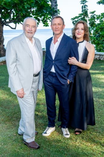 "The long-time producers of the ""Bond"" movies, Michael G. Wilson and Barbara Broccoli with ""007"" Daniel Craig."