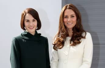 """Lady Mary"" Michelle Dockery and Duchess Catherine on the set of Downtwn Abbey in 2015."