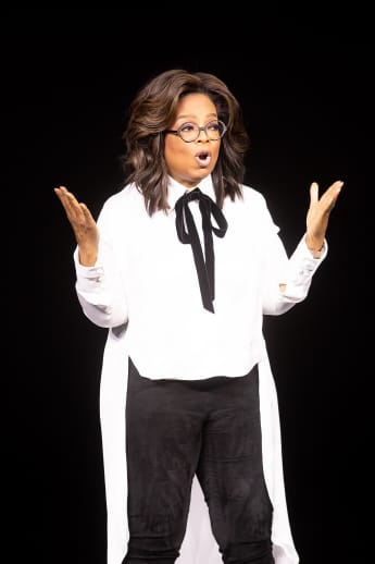 Oprah Winfrey on stage at the unveiling of Apple's new streaming service Apple TV+.
