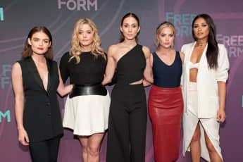 Lucy Hale, Sasha Pieterse, Troian Bellisario, Ashley Benson, and Shay Mitchell 2016 ABC Freeform Upfront in New York City.