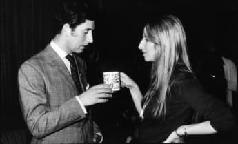 Prince Charles and Barbra Streisand on a movie set in Hollywood in 1974