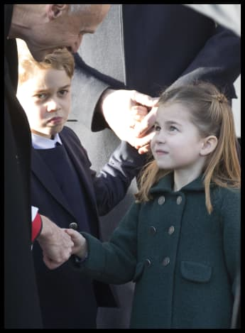 Prince George and Princess Charlotte Church on Christmas Day.