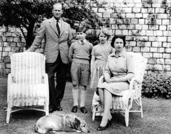 Prince Philip, Prince Charles, Princess Anne and Queen Elizabeth II June 1959