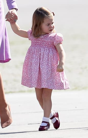 Princess Charlotte of Cambridge before departing from Hamburg airport on the last day of their official visit to Poland and Germany on July 21, 2017
