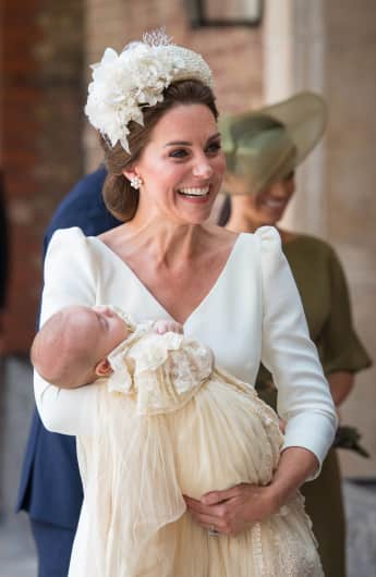 Duchess Catherine with Prince Louis at his baptism in the Chapel Royal in the grounds of St James's Palace.