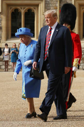 Queen Elizabeth II and President Donald Trump during a welcome ceremony at Windsor Castle in Windsor in July 2018.