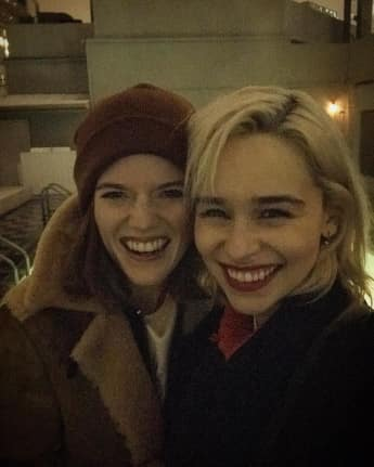 Rose Leslie and Emilia Clarke Game enjoying a girls night out