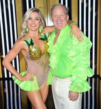 "Lindsay Arnold and Sean Spicer attend the ""Dancing With The Stars"" Season 28 show at CBS Television City on September 16, 2019"