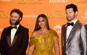 Beyoncé, Seth Rogen and Billy Eichner at The Lion King premiere in London