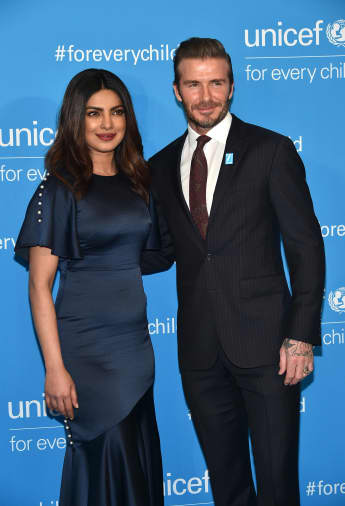 UNICEF India National Ambassador Priyanka Chopra and UNICEF Goodwill Ambassador David Beckham attend UNICEF's 70th Anniversary Event at United Nations Headquarters on December 12, 2016 in New York City