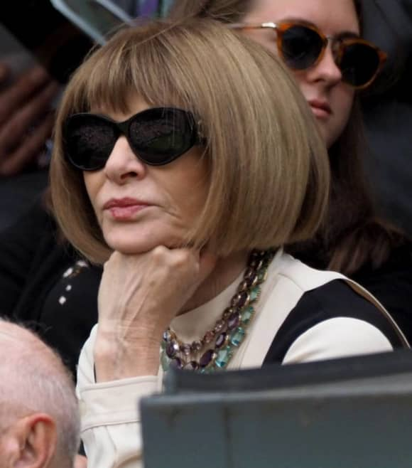 Anna Wintour attends the Wimbledon 2019 Tennis Championships in London, England.