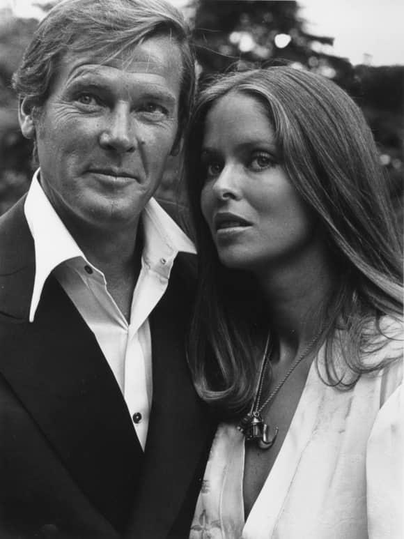 Barbara Bach and Roger Moore