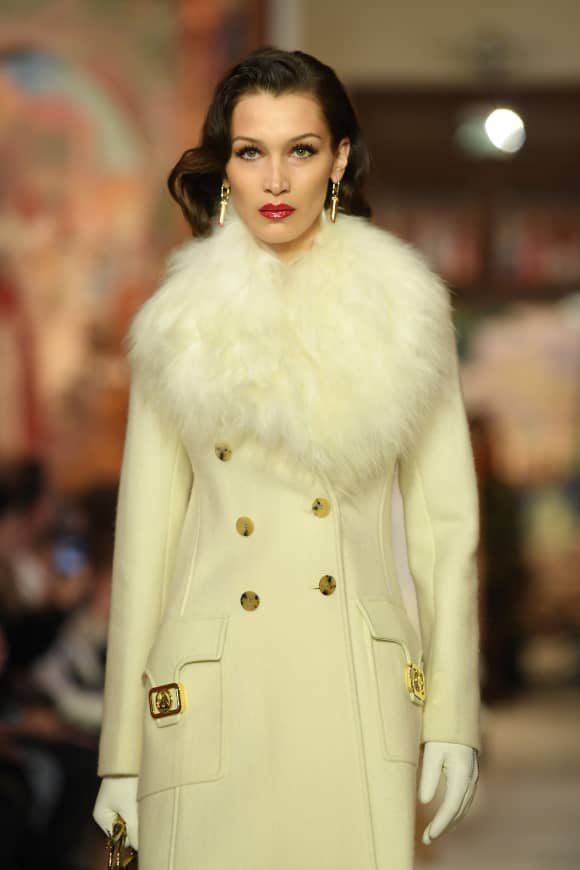 Bella Hadid walks the runway during the Lanvin show as part of Paris Fashion Week.
