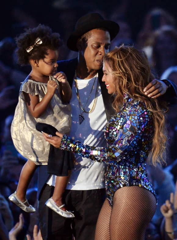 Beyoncé with her husband Jay Z and her daughter Blue Ivy Carter