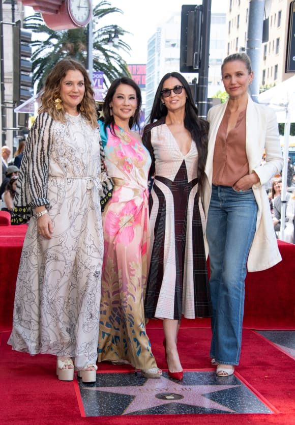 Drew Barrymore, Lucy Liu, Demi Moore and Cameron Diaz at Liu's Walk of Fame ceremony, 2019.