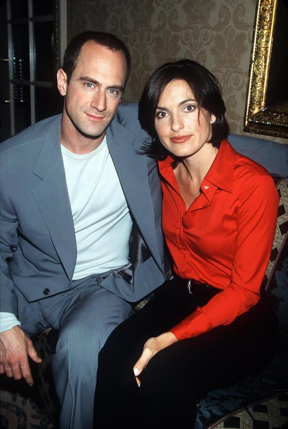 Christopher Meloni and Mariska Hargitay in NBC press tour photo for Law & Order: SVU season 1 in 1999.