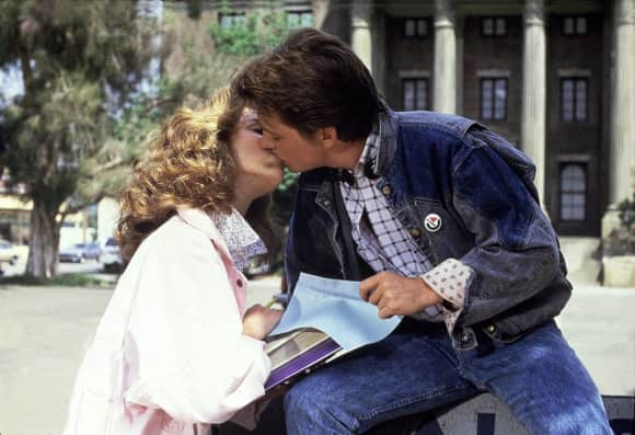 "Claudia Wells as ""Jennifer Parker"" and Michael J. Fox as ""Marty"" in ""Back To The Future"""