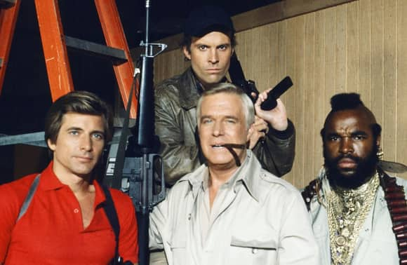 "The ""A-Team"": Dirk Benedict, George Peppard, Mr. T and Dwight Schultz"