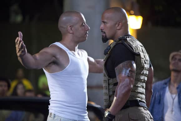 "Dwayne Johnson and Vin Diesel in ""The Fast And The Furious"""