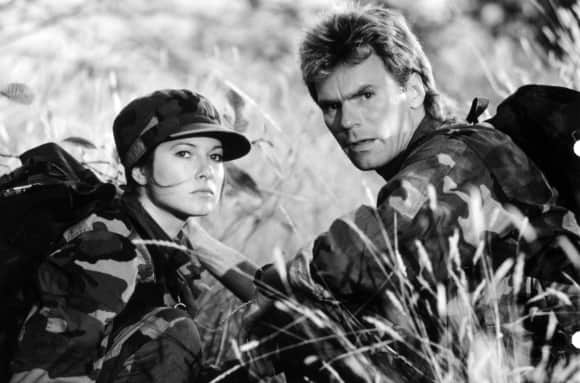 "Elyssa Davalos and Richard Dean Anderson in ""MacGyver"""
