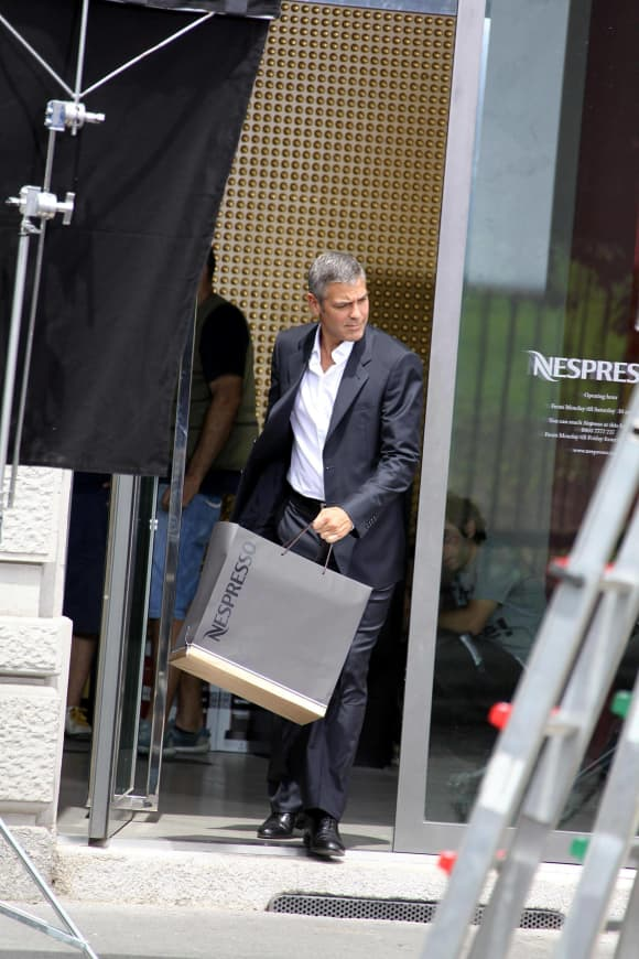 George Clooney at the set of the Nespresso commercial