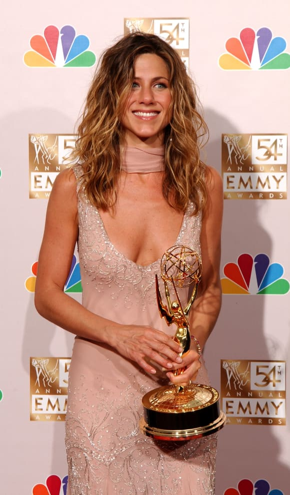"""Jennifer Aniston wins an Emmy Award for Outstanding Lead Actress in a Comedy Series award for """"Friends""""."""